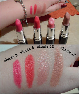 MUA swatches lipsticks