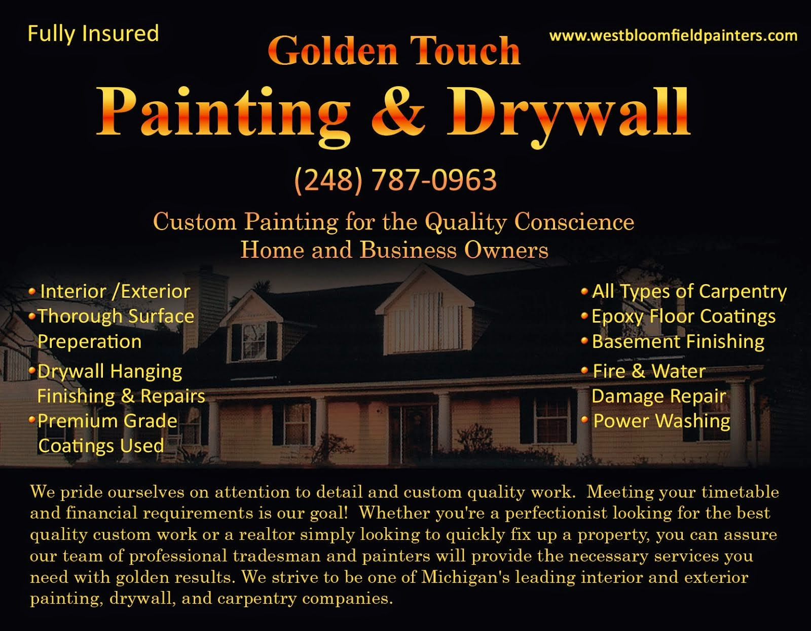 One of Oakland Counties most prestigious painting company