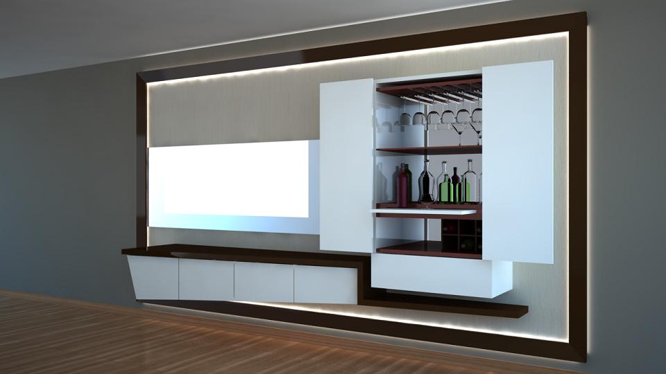 Diego Ñaupari Arias (Arquitectura y 3D) Diseño de mueble BARTV