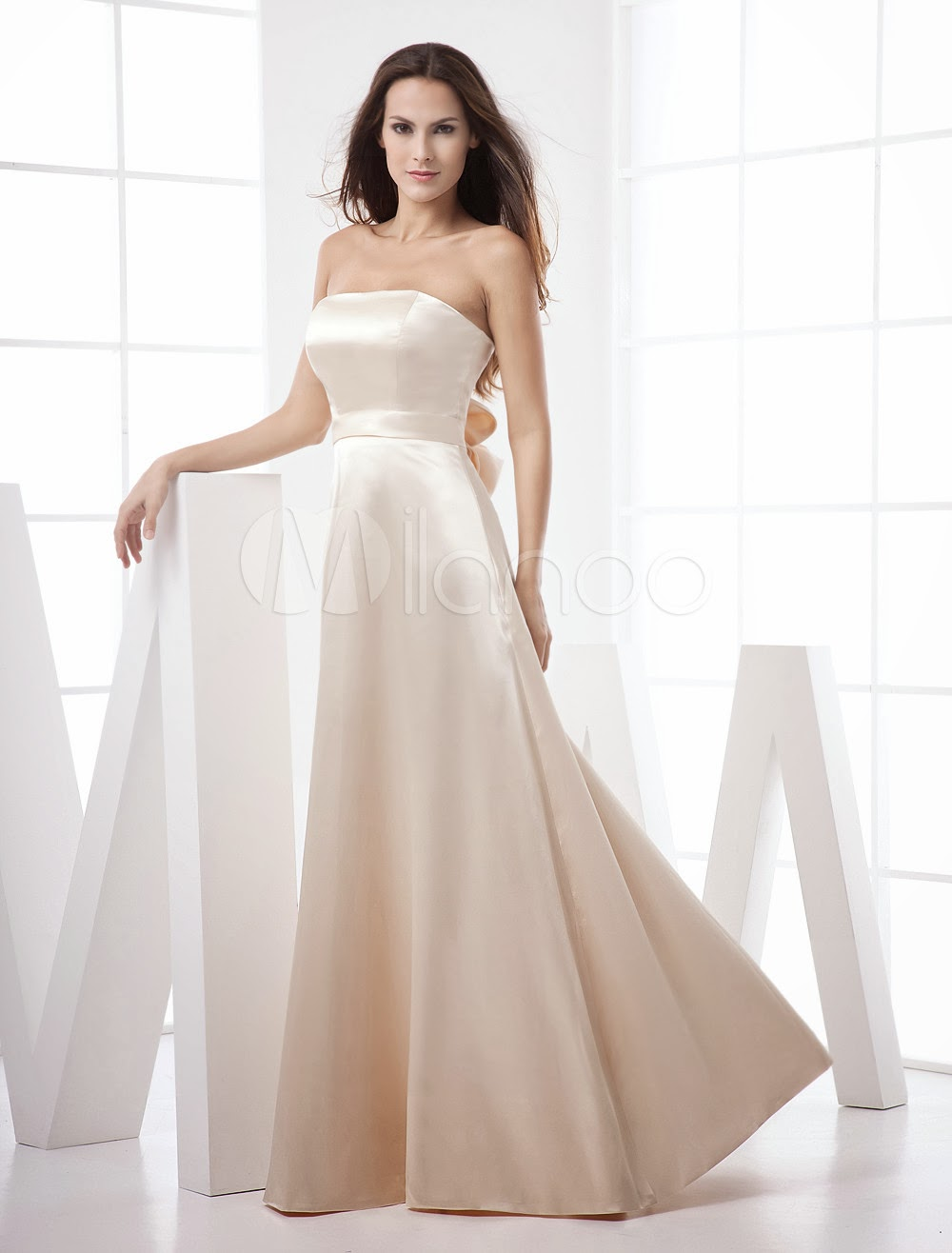 China Wholesale Dresses - Champagne Strapless Floor Length A-line Elastic Woven Satin Evening Dresses