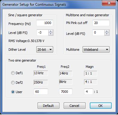 Generator Setup for Continuous Signals