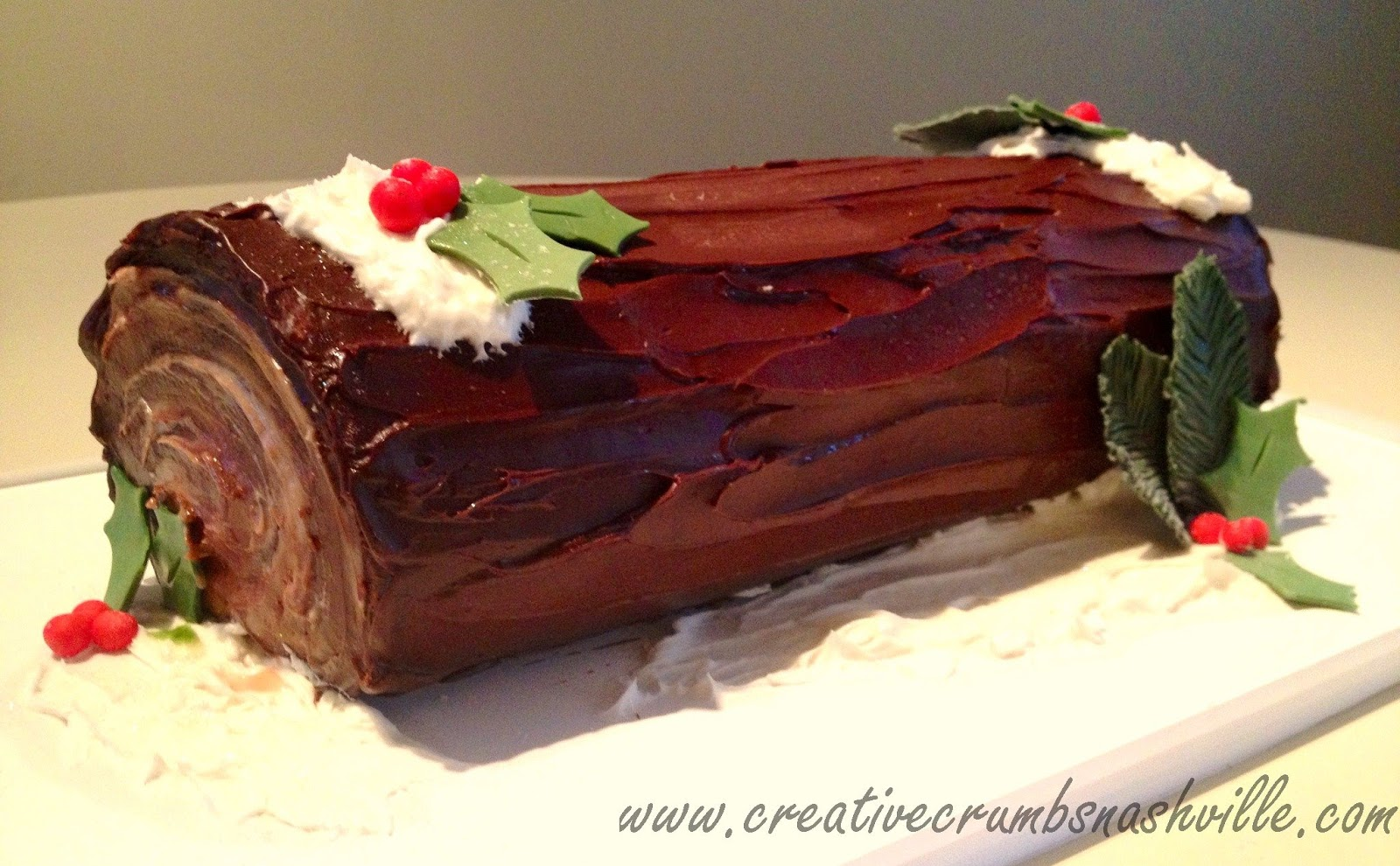the yule log was made with a delicate vanilla sponge