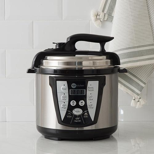 Panela de Pressão Elétrica Fun Kitchen Inox 4L com 2 Anos de Garantia