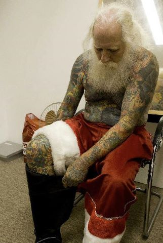 Tattooed old man