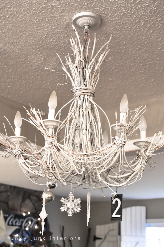 White twig chandelier decked out for Christmas via Funky Junk Interiors - home tour 2012
