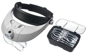 Hobby Magnifier Handsfree Head Mount Magnifier with Detachable LED Head Lamp - 5 Replaceable