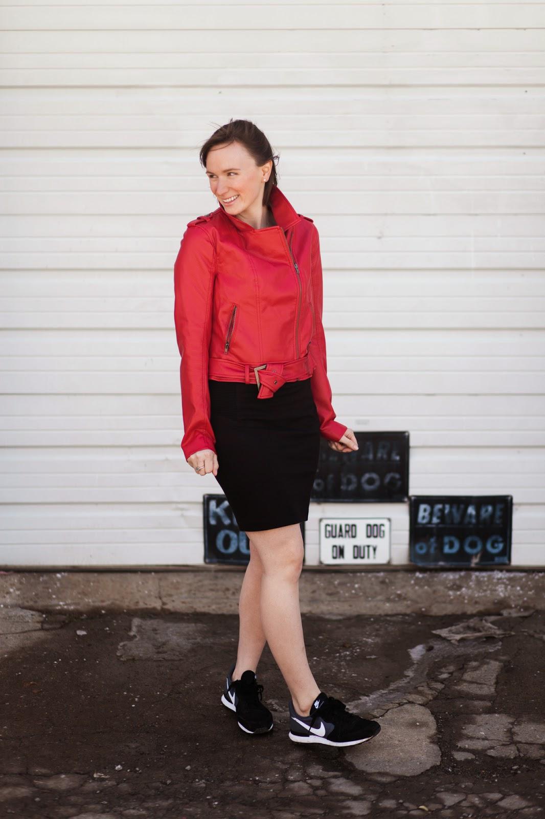 Red Leather Jacket, Nike Internationalist Sneaker, Nashville Style, Casual Work Look