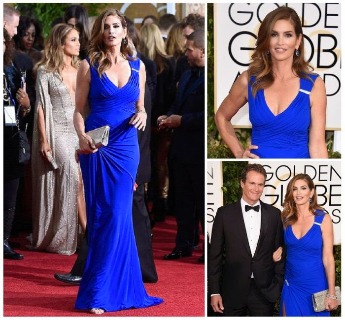 The 48-year-old has nothing to hide when it comes to her perfect art and she showed plenty of skin to the red carpet of 72nd Annual Golden Globe Awards at Beverly Hilton in Los Angeles, CA, USA on Sunday, January 11, 2014 with husband, Rande Gerber.