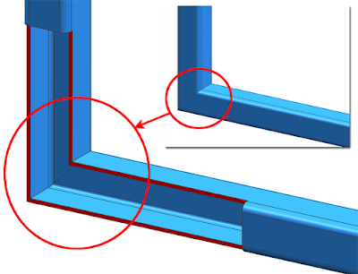 typical welding of square tubes with 45 degrees connection