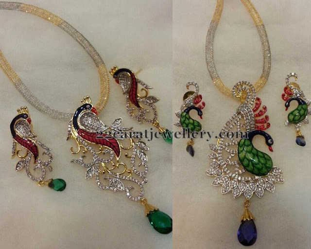 Fancy Peacock Meenakari Lockets