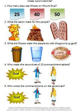 Bible Fun For Kids Moses Aarons Gold Calf