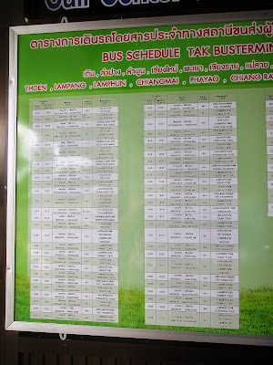 Bus schedule between Bangkok and Chiang Mai (1)