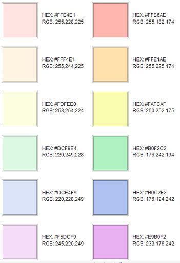 Sobre colores los colores claros y p lidos for Gama de colores vivos