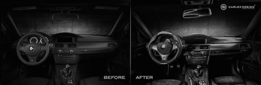 BMW M3のインテリアを豪華な素材でオールブラックにカスタム
