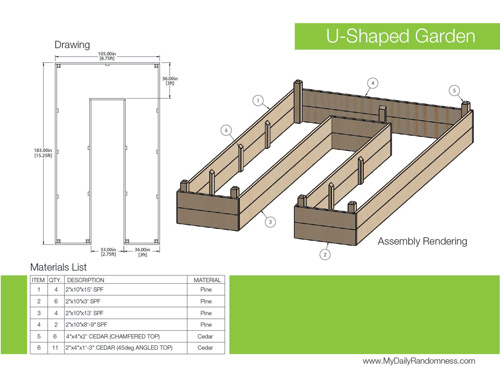 how to build a ushaped raised garden bed // drawing and rendering, Natural flower