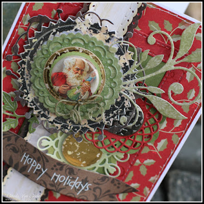 Happy Holidays card featuring DCWV Merry Memories Stack and Mercury Glass Stacks designed by Rhonda Van Ginkel