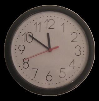 Bild: Analoge Uhr mit der Uhrzeit: Neun Minuten vor Zwölf Uhr.