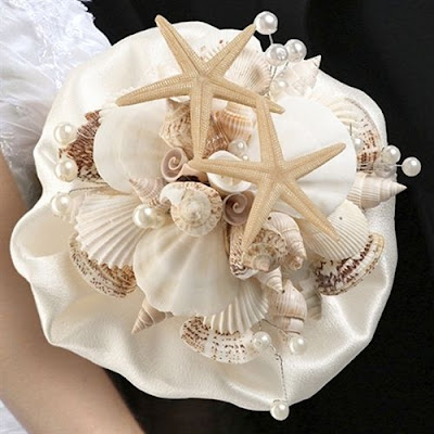Bukiety ślubne z muszelkami