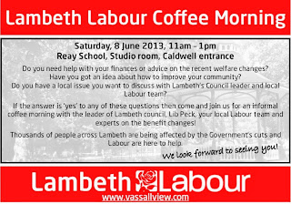 Vassall Labour coffee mroning flyer on vassallview.com