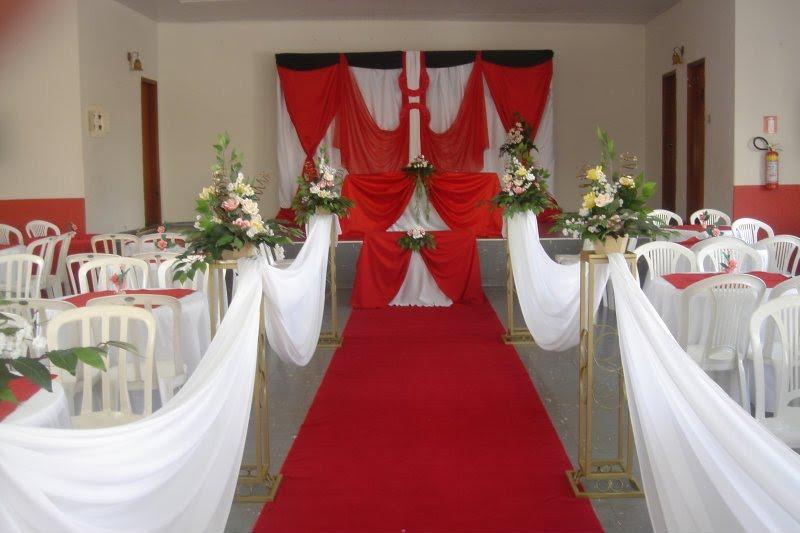 Dm festas e decorações Decoração de Casamento  vermelho e branco