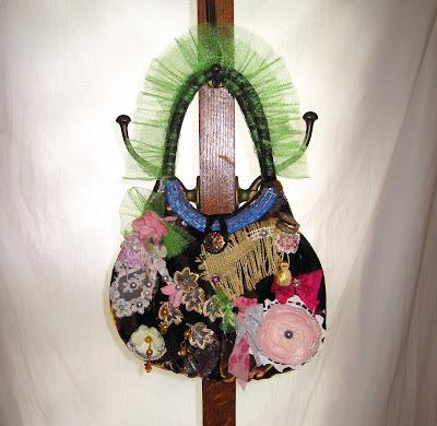 Soft velour handmade embellished whimsical women's purse handbag, upcycled bohemian gypsy urban chic colorful