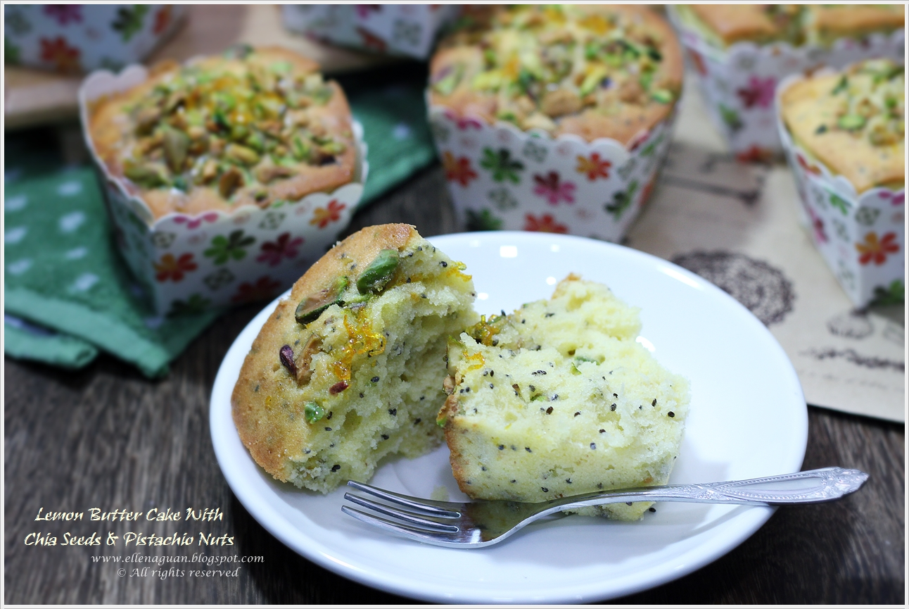 ... Reviews And Travel: Lemon Butter Cake With Chia Seeds & Pistachio Nuts