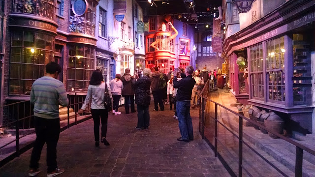 Diagon Alley from the Harry Potter set, on display at the Warner Bros. London Studio