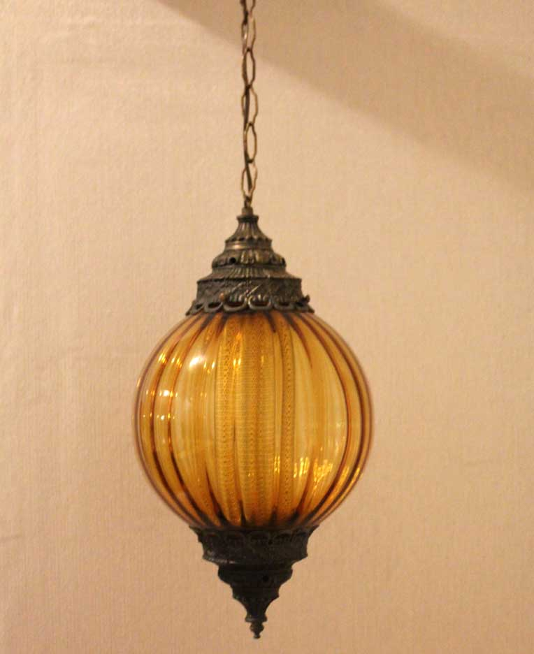 Amber Hollywood Regency Hanging Lamp