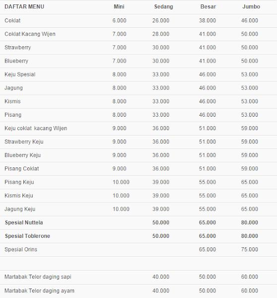 Daftar Menu dan harga Martabak Paling Enak di Jakarta