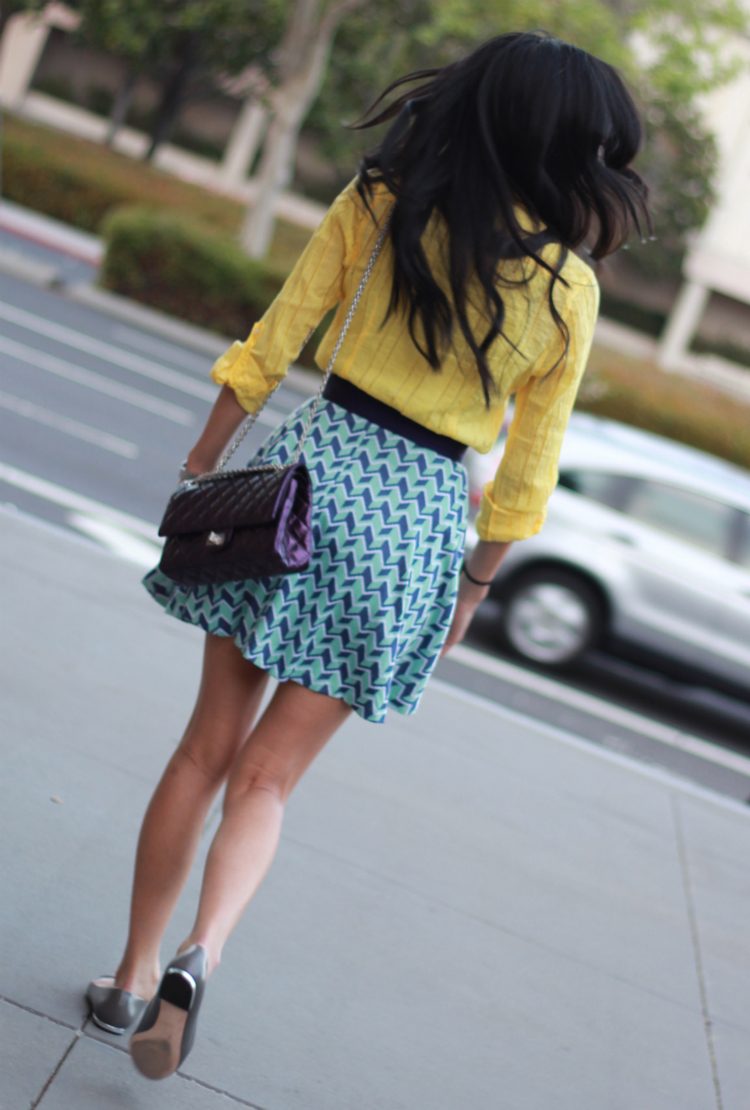 colorblock outfit yellow blue purple geometry repeat shapes circle skirt bariii outfit spring