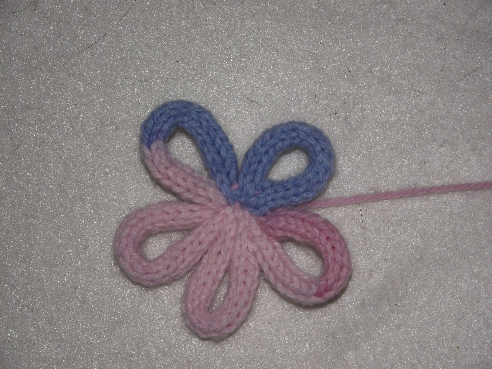 French Knitting Flowers : Made by me french knitted flower