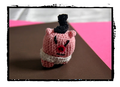 crocheted sumo piggie
