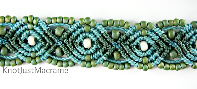 Micro macrame necklace strap by Sherri Stokey of Knot Just Macrame.