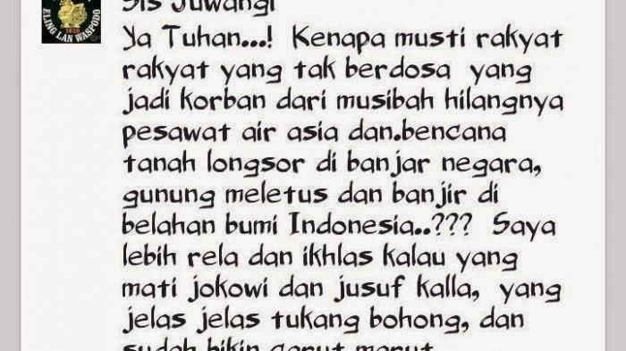 Woow Gilak!! Akun Twitter Ini Mendoakan Jokowi-JK Jadi Korban AirAsia