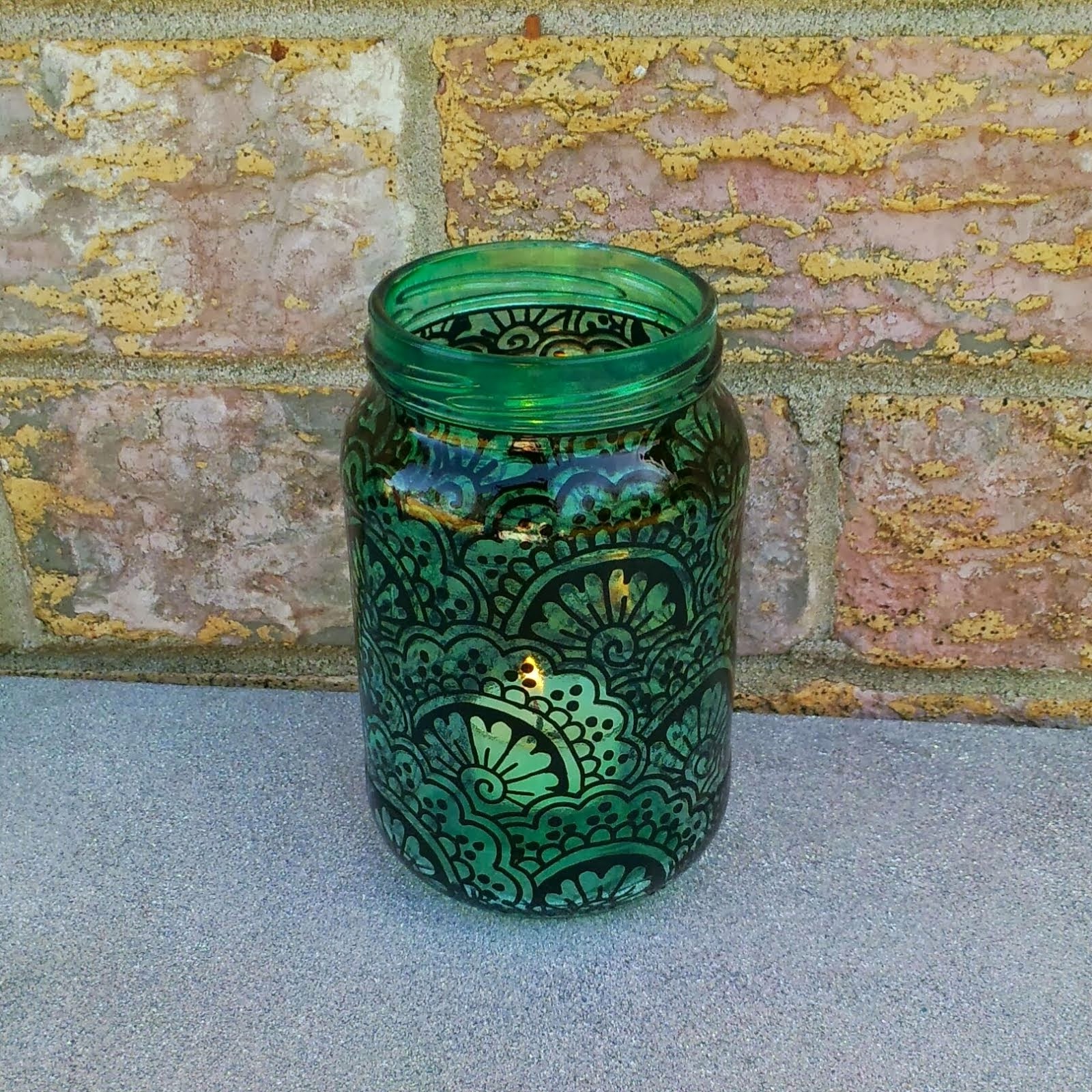 Henna Painted Jar