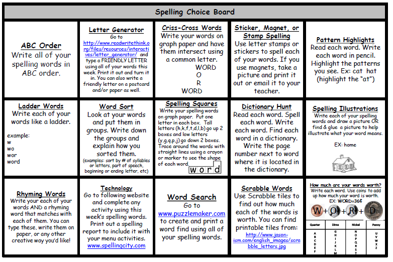 To download the intermediate spelling choice boards amp parent letter