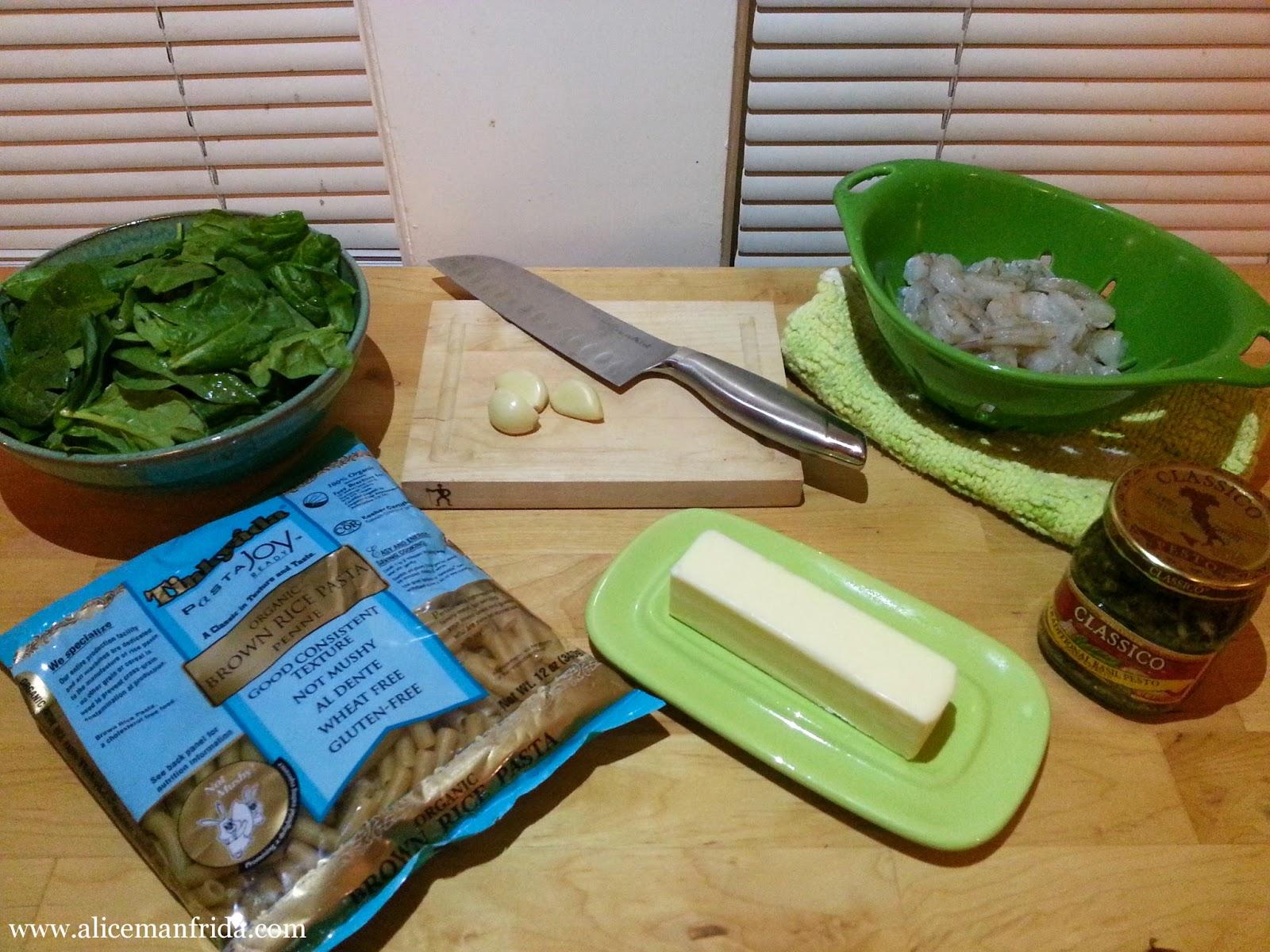 shrimp recipe, pesto sauce, easy pasta recipe, weeknight dinner, Alice Manfrida, Alice Cooks