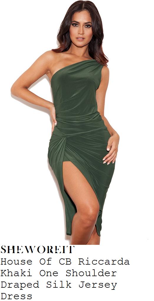 danielle-armstrong-khaki-green-asymmetric-one-shoulder-draped-thigh-split-dress