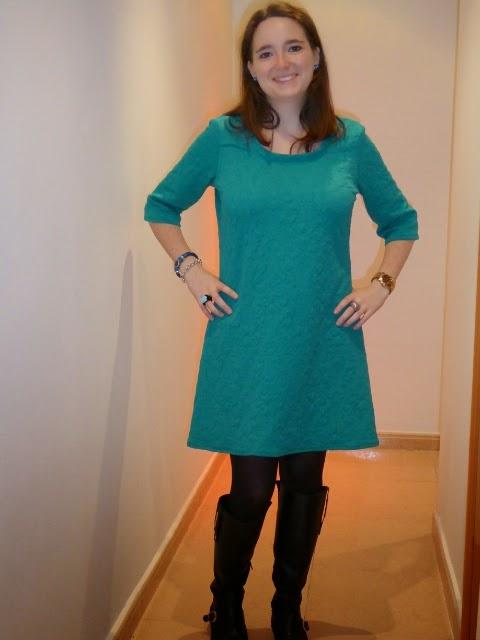 vestido renfrew top sewaholic dress azul turquesa modistilla de pacotilla diy