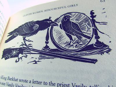illustrations, Angela Carter, fairy stories, book, hardback, Corinna Sargood, crow, mirror, black and white
