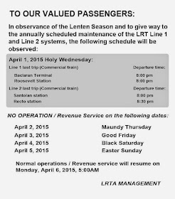 LRT holy week 2015 schedule