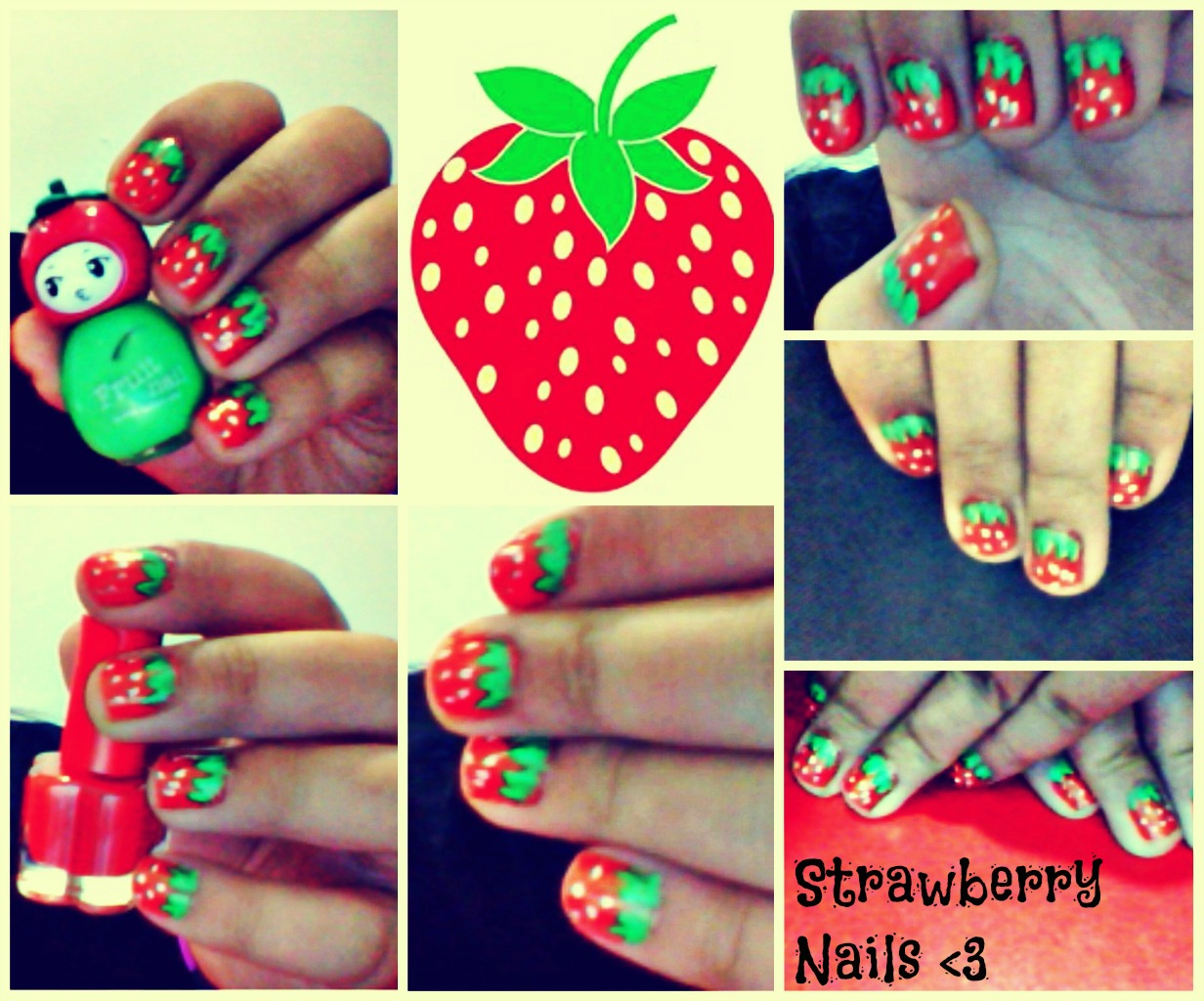 Strawberry x watermelon nail art tutorial poetic isolation paint your nails red or if you want to you may use any shades of color close to red something that will resemble the base color of a strawberry prinsesfo Gallery