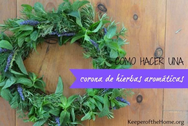 corona con hierbas aromáticas