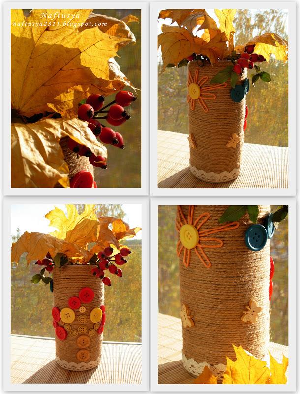 Как сделать поделку осенью в вазе