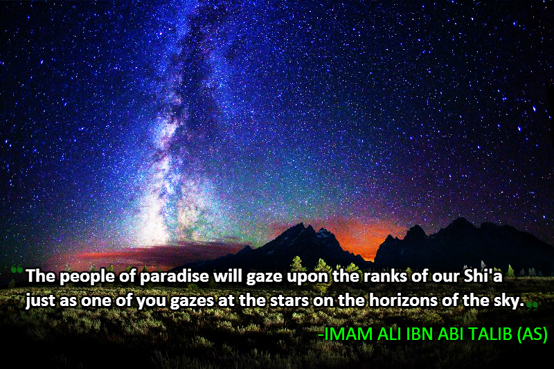The people of paradise will gaze upon the ranks of our Shi'a just as one of you gazes at the stars on the horizons of the sky.