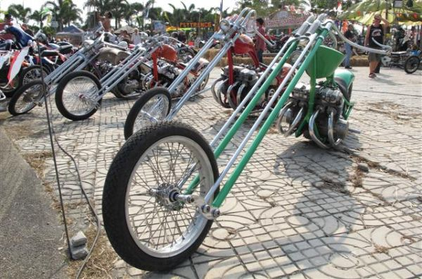 custom built choppers at the Pattaya bike week