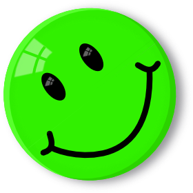 6 green smileys with happy face smiley symbol