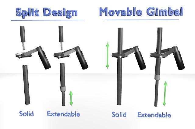 Camera Stabilizer Main Tube Design Options