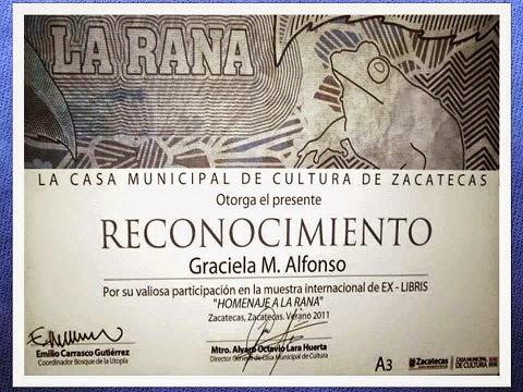 """Diploma Reconocimiento Ex-Libris Casa Municipal de Cultura de Zacatecas"""
