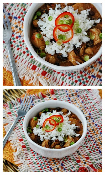 Slow Cooker Three Bean Salsa Chicken and Rice